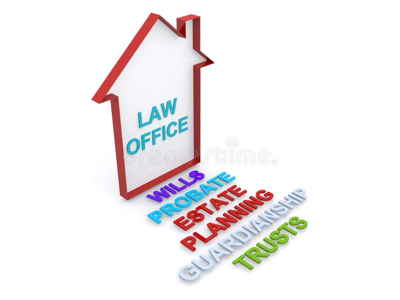 3d law office sign. With associated legal words, white background stock illustration