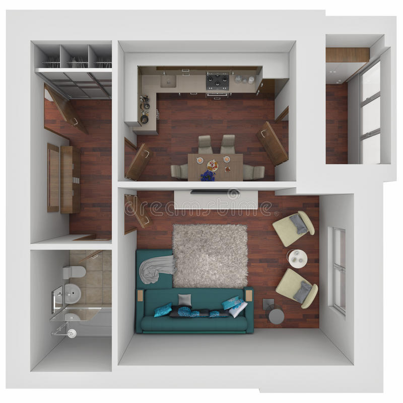 3D layout of the apartment. 3D Visualization small one-room apartment royalty free illustration