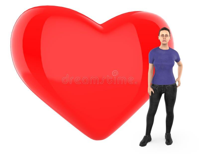3d le caractère, femme s'est inquiété, triste, position près à un coeur/à un signe forme d'amour illustration libre de droits