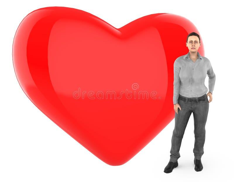 3d le caractère, femme s'est inquiété, triste, position près à un coeur/à un signe forme d'amour illustration stock