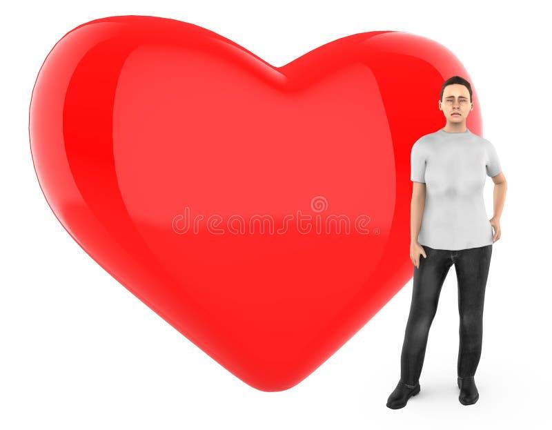 3d le caractère, femme s'est inquiété, triste, position près à un coeur/à un signe forme d'amour illustration de vecteur