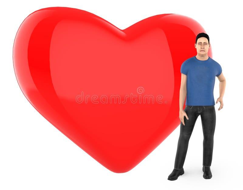 3d le caractère, homme s'est inquiété, triste, position près à un coeur/à un signe forme d'amour illustration stock