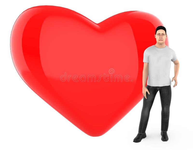3d le caractère, homme s'est inquiété, triste, position près à un coeur/à un signe forme d'amour illustration de vecteur