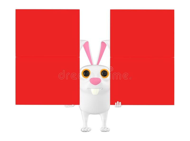 3d le caractère, lapin tenant la bannière vide rouge de copyspace embarque illustration de vecteur