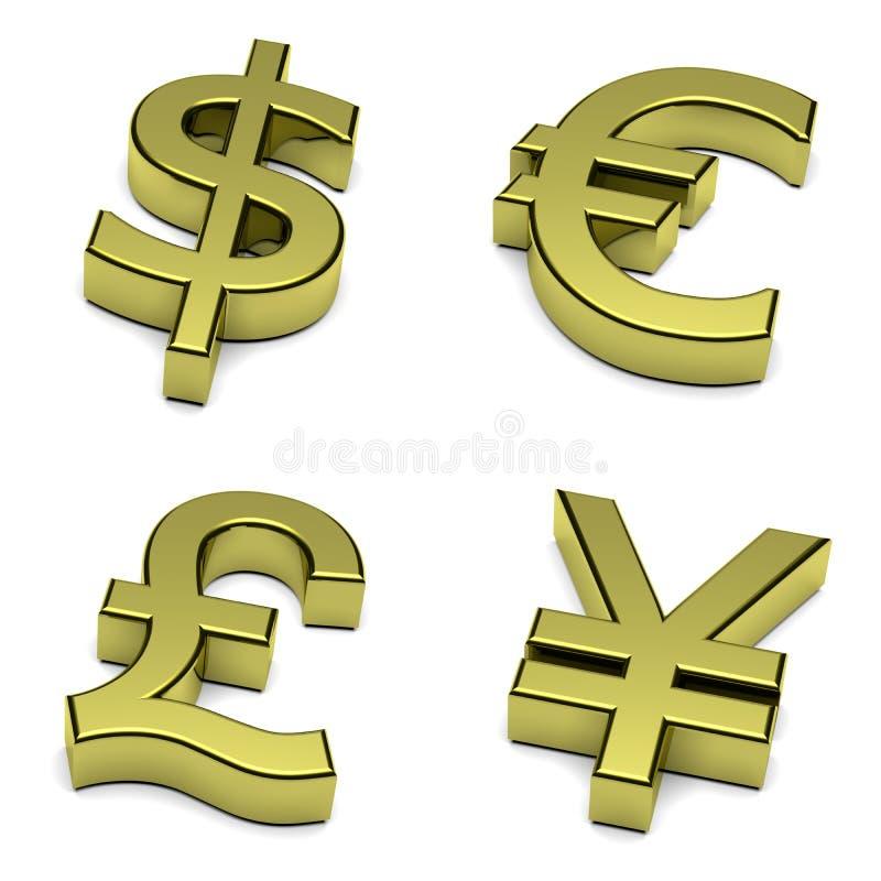 3D le dollar, euro, livre sterling, Yen, symbole monétaire de yuan a placé sur le blanc illustration stock