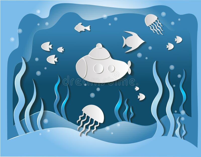 3D le monde sous-marin, sous-marin nage sous l'eau parmi les poissons et l'algue, le découpage de papier d'art et le style numéri illustration stock