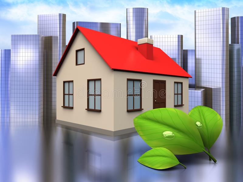 3d leafs over city. 3d illustration of house with leafs over city background stock illustration