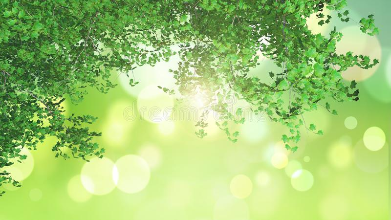 3D Green Leaves On Green Background Stock Illustration