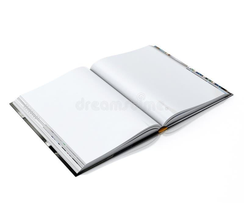 3d leeg wit geopend die boek op witte achtergrond wordt geïsoleerd royalty-vrije illustratie