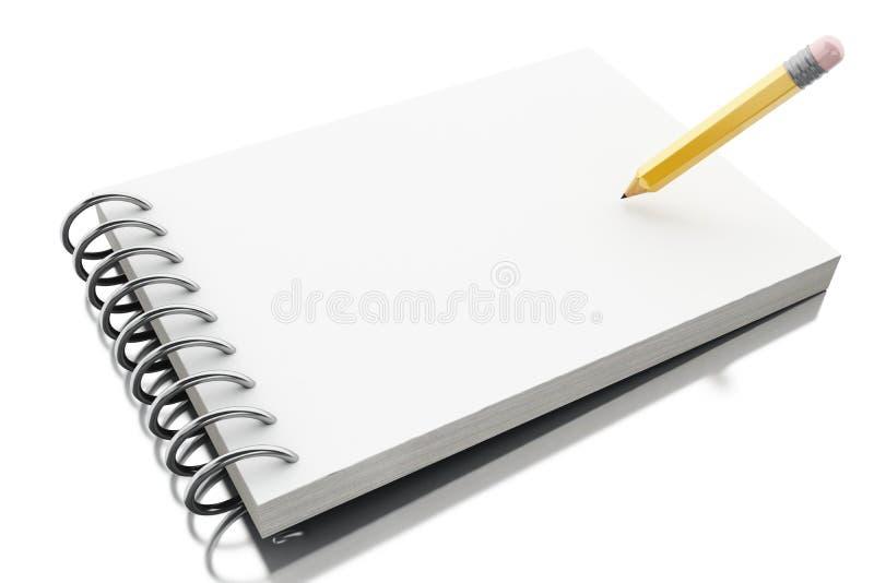 3d leeren gewundenen Mappennotizblock mit Bleistift lizenzfreie abbildung