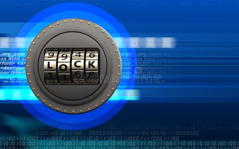 3d lege deur van het codeslot stock illustratie