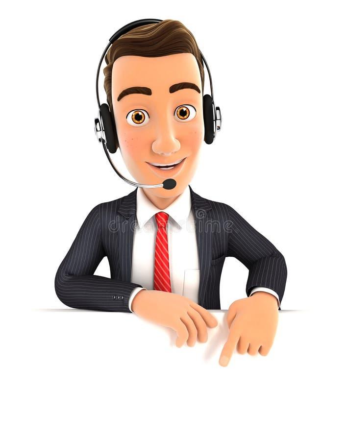 3d lege muur van de zakenmanhoofdtelefoon royalty-vrije illustratie