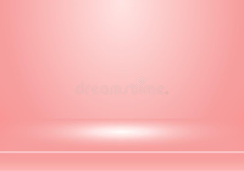 3D lege studioruimte toont cabine voor ontwerpers met schijnwerper op de gradi?ntachtergrond van de pastelkleur roze kleur Toon u vector illustratie
