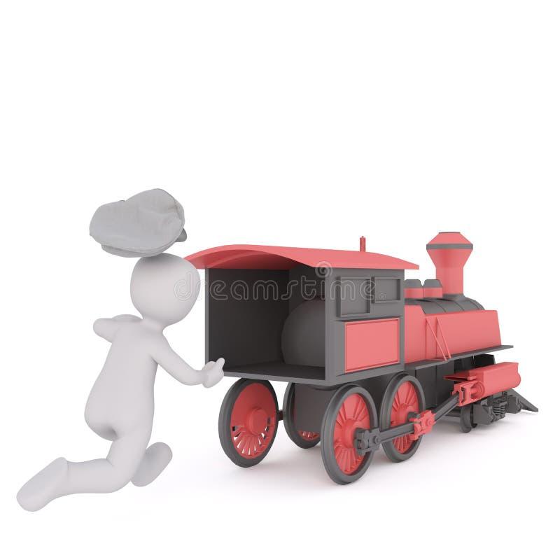 3d Leider die na een het vertrekken trein lopen vector illustratie