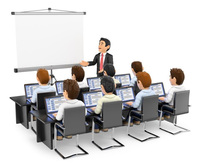3D Leraar die aan studenten met laptops spreken vector illustratie