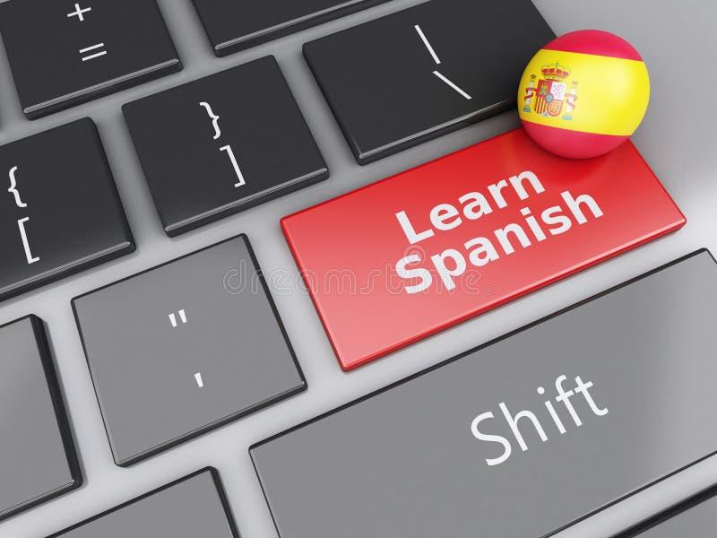3d lernen Spanisch auf Computertastatur getrennte alte Bücher stock abbildung