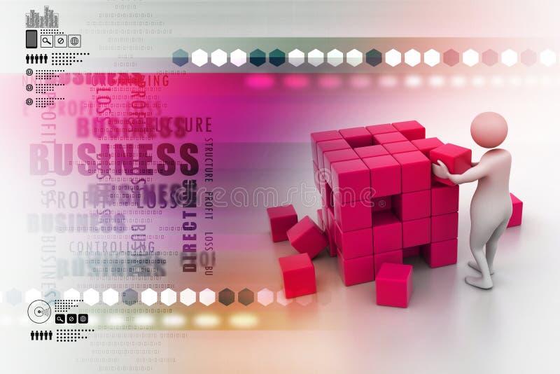 3d les gens - homme, personne poussant un cube illustration stock