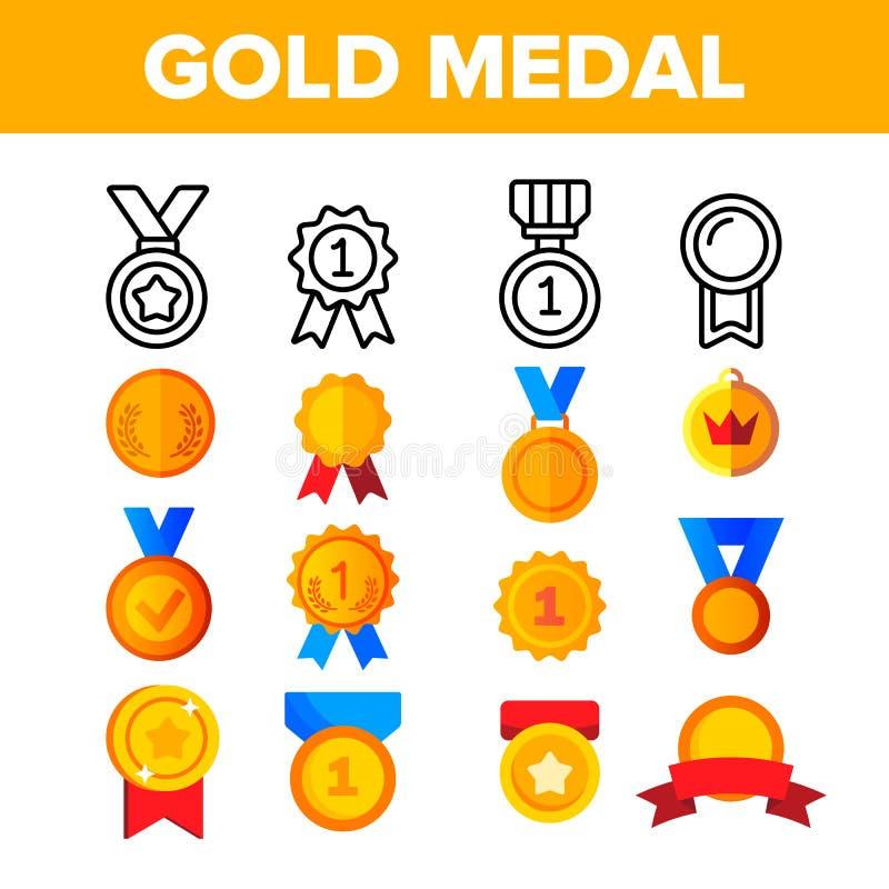 D'or, les médailles de bronze dirigent l'ensemble d'icônes de couleur illustration stock