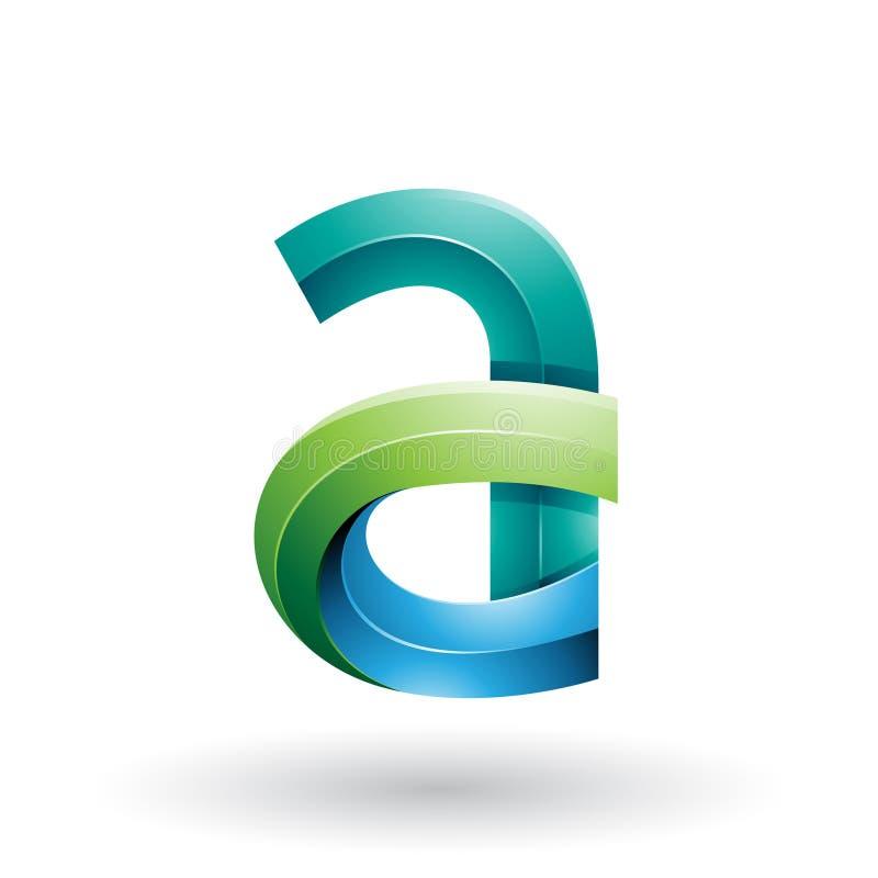 3d letra con curvas intrépida verde y azul A aislada en un fondo blanco stock de ilustración