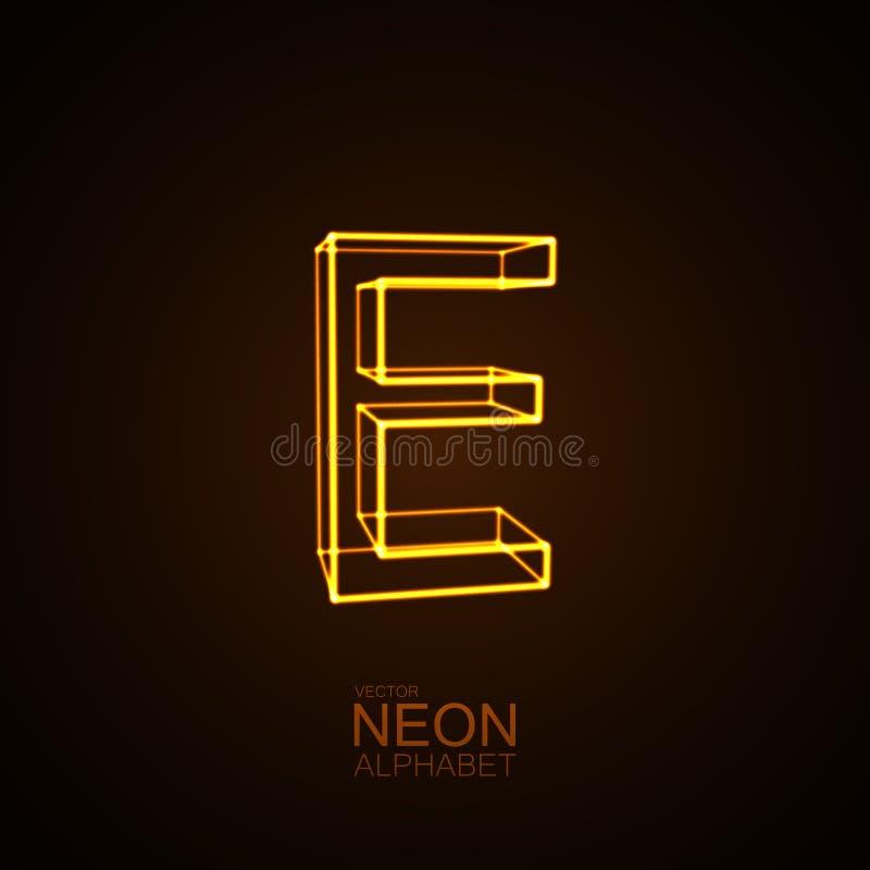 3D letra de neón E ilustración del vector
