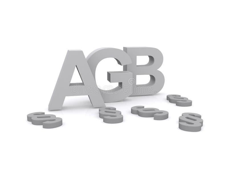3D letra A G B ilustración del vector