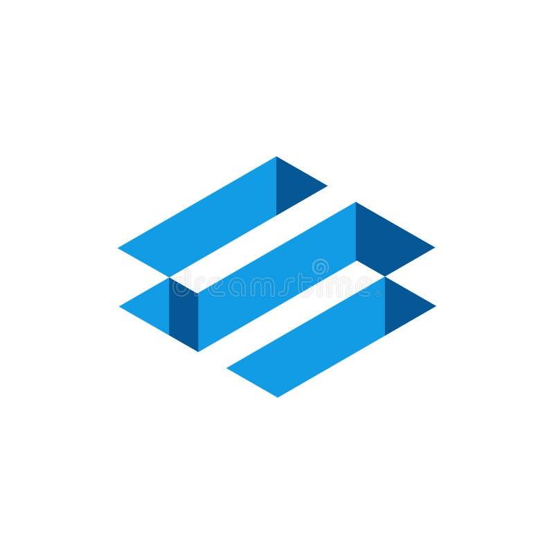 3D letra isométrica azul S, letra abstracta S Logo Design Ilustraci?n del vector stock de ilustración