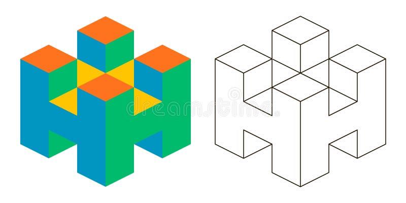 3D letra isometry h do vetor da letra H para anunciar ou logotipo, 3D isometry ilustração stock