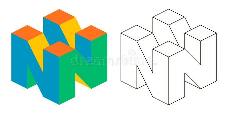 3D letra isometry N do vetor da letra N para anunciar ou logotipo, 3D isometry ilustração royalty free
