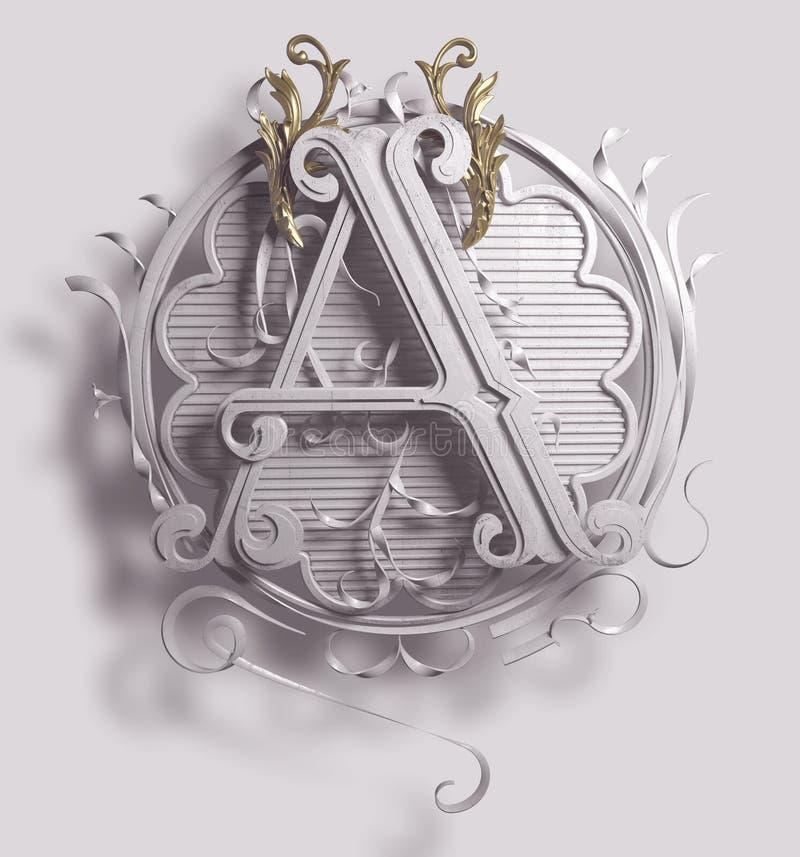 3d letra principal clássica A com quadro decorativo decorativo ilustração stock