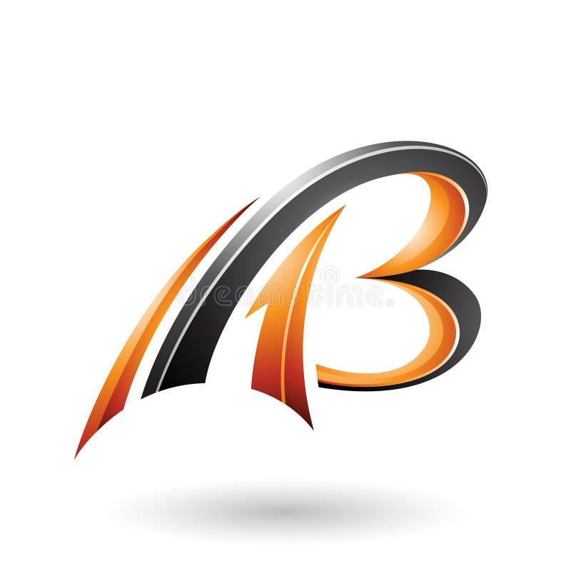 3d letras dinâmicas de voo alaranjadas e pretas A e B isolados em um fundo branco ilustração royalty free