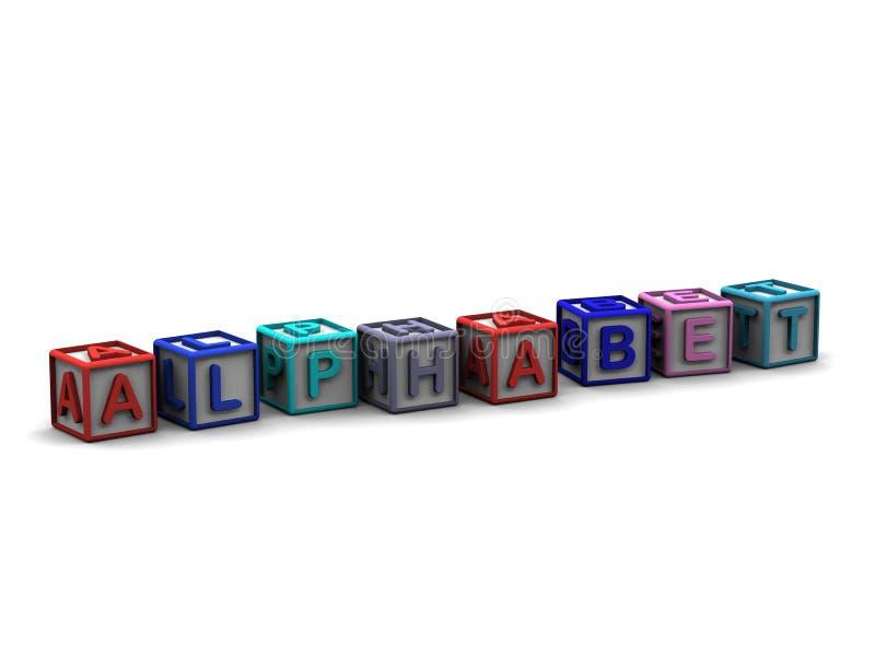 Letter Cubes Spelling Alphabet. 3D letter cubes spelling Alphabet vector illustration