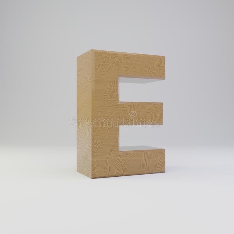 3D letter E uppercase. Wooden font isolated on white background royalty free illustration