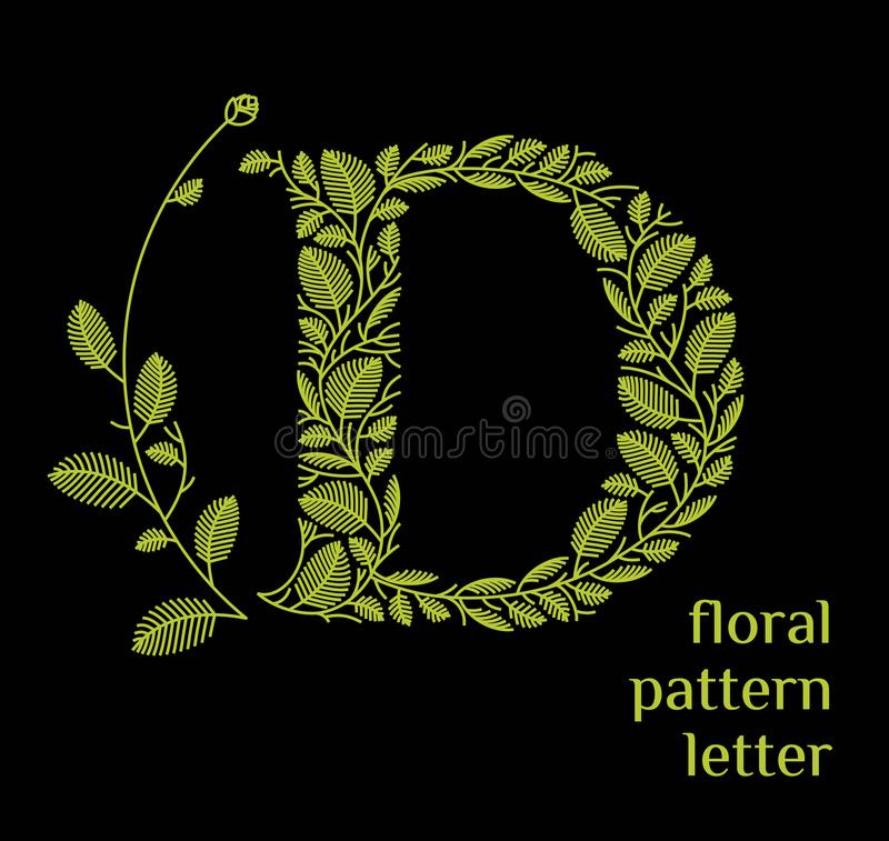 D letter eco logo isolated on black background. Organic bio logo from green grass leaves, plants for corporate identity. Of the company or brand on the letter D stock illustration