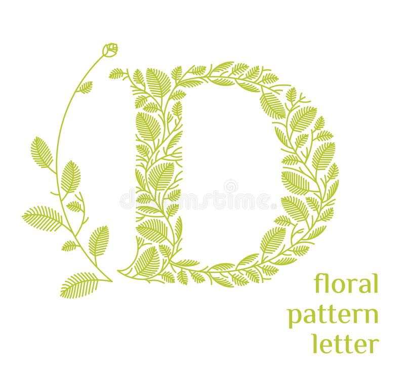 D letter eco logo isolated on white background. Organic bio logo from green grass leaves, plants for corporate identity. Of the company or brand on the letter D stock illustration