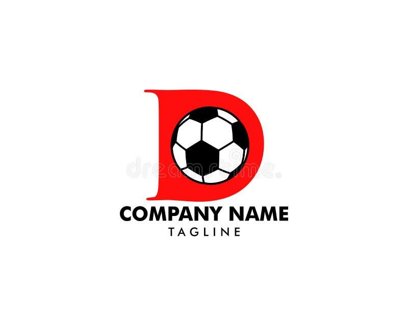 D letter logo, football ball logo design vector illustration