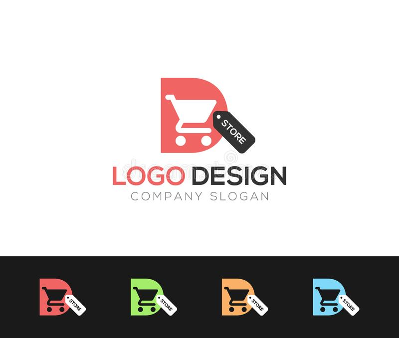 D letter Logo Template online store vectors illustration. This is very easy to use. U ca Use as your won simply stock illustration