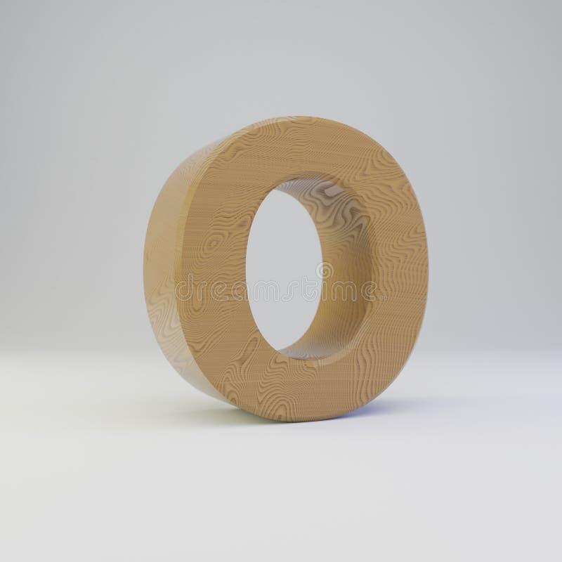 3D letter O uppercase. Wooden font isolated on white background. 3D letter O uppercase. Rendered wooden font isolated on white background royalty free illustration