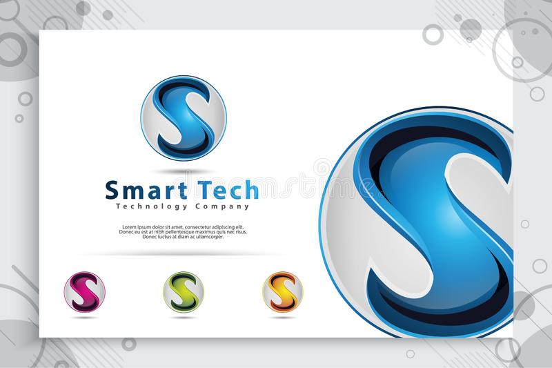 3d Letter S logo vector design with modern colorful style. Illustration Of 3d Letter S for technology company vector illustration