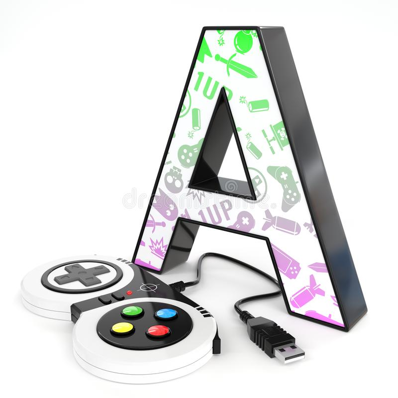 `A` 3d letter with video game controller. Green and purple video game icons painted over `A` 3d letter with video game controller royalty free illustration