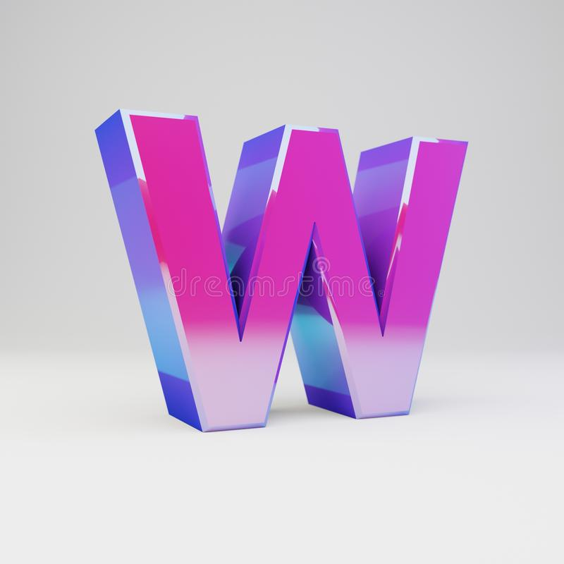 3d letter W uppercase. Rendered multicolor metal font with glossy reflections and shadow isolated on white background. 3d letter W uppercase. Rendered multicolor royalty free stock image