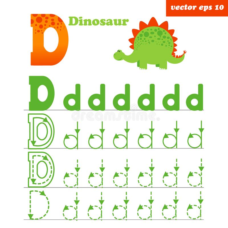 D letter worksheet with funny dinosour character stock illustration