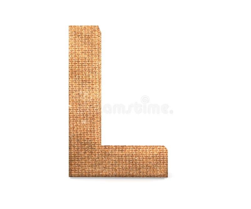 3D lettera decorativa da un alfabeto della tela da imballaggio, lettera maiuscola L immagine stock libera da diritti