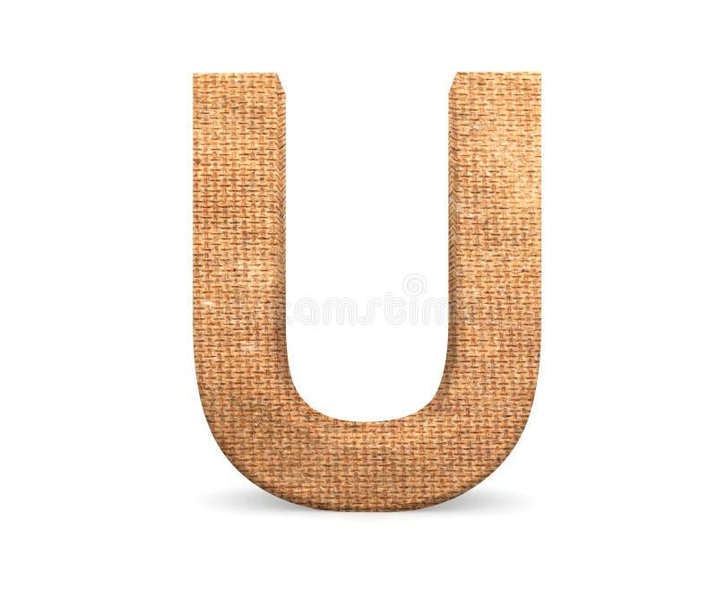 3D lettera decorativa da un alfabeto della tela da imballaggio, lettera maiuscola U fotografie stock libere da diritti