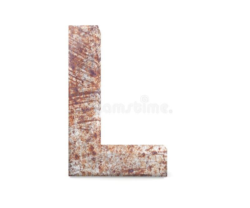 3D lettera decorativa da un vecchio alfabeto arrugginito del metallo, lettera maiuscola L fotografie stock