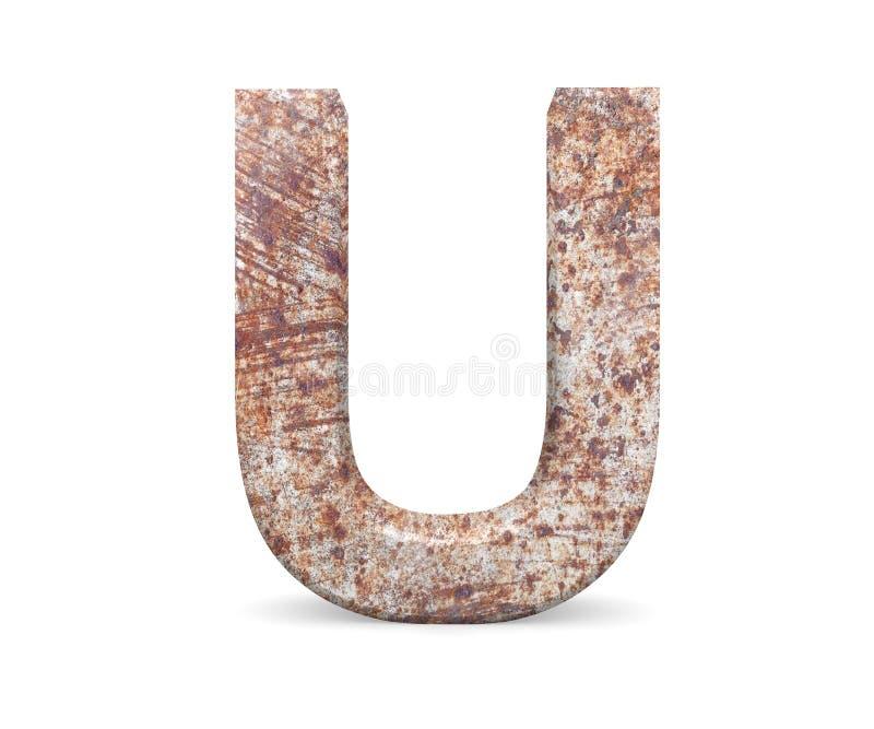 3D lettera decorativa da un vecchio alfabeto arrugginito del metallo, lettera maiuscola U fotografia stock libera da diritti