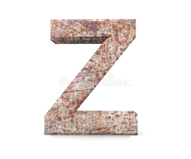 3D lettera decorativa da un vecchio alfabeto arrugginito del metallo, lettera maiuscola Z fotografia stock