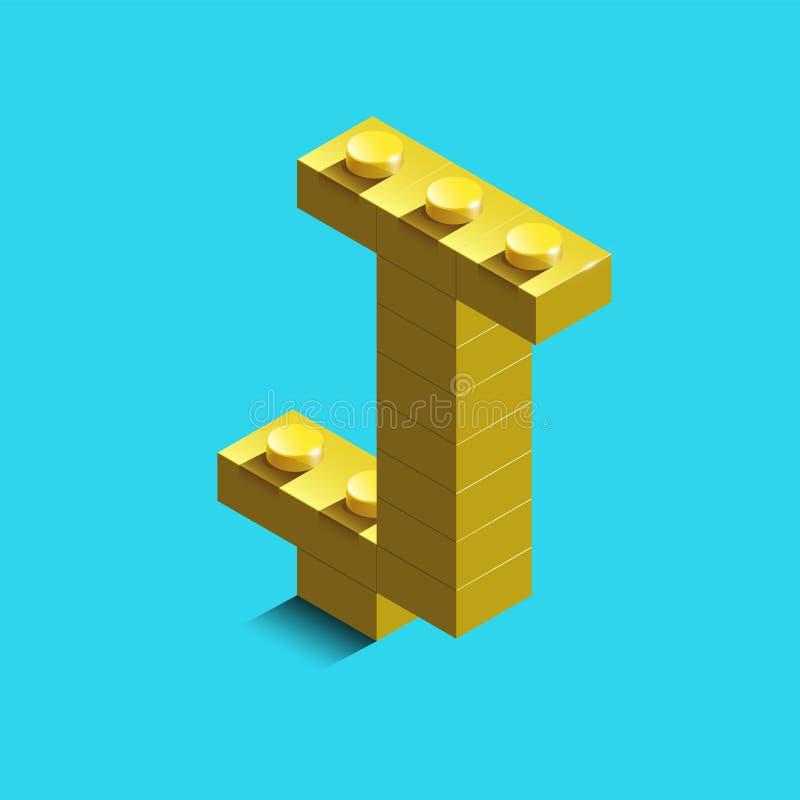 3d lettera isometrica J dell'alfabeto dai mattoni di lego 3d illustrazione di stock