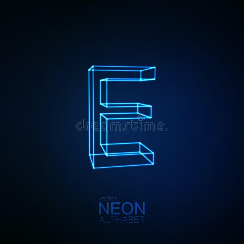 3D lettre au néon E illustration stock