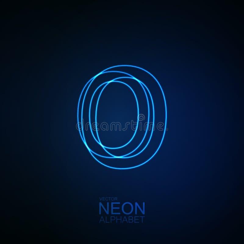 3D lettre au néon O illustration stock