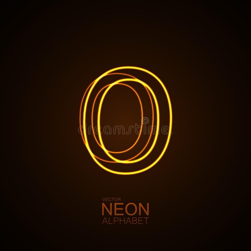 3D lettre au néon O illustration de vecteur